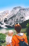 Travel on Braies Lake Lago Di Braies in Dolomites, Italy, Euro Stock Images