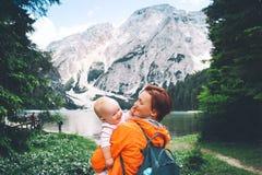 Travel on Braies Lake Lago Di Braies in Dolomites, Italy, Europe stock photo