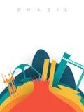 Travel Brazil 3d paper cut world landmarks stock illustration