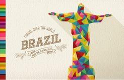 Travel Brazil landmark polygonal monument stock illustration