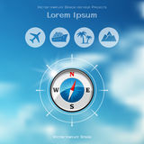 Travel brochure cover design with compass icon stock illustration