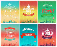 Travel brochure with world landmarks. Template of magazine, poster, book cover Stock Photos