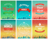 Travel brochure with world landmarks. Template of magazine, poster, book cover, banner Stock Photo