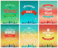 Travel brochure with world landmarks. Template of magazine, poster, book cover, banner, flyer. Vector Stock Image