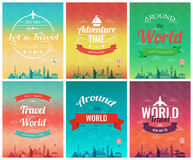 Travel brochure with world landmarks. Template of magazine, poster, book cover, banner, flyer. Vector Stock Images