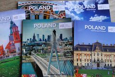 TRAVEL BROCHURES FOR POLAND. Copenhagen/Denmark 24.October 2018.Travel material or brochures on poland from Quaity travel fai 208 in Copenhagen Denmark.. Photo stock images