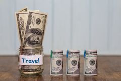 Travel budget concept. Travel money savings. In a glass jar Stock Photo