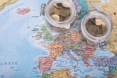 Travel Budget money. On your map Royalty Free Stock Photos