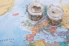 Travel Budget money. On your map Stock Images