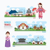 Travel and Building asia Landmark korea, japan, thailand Templat Stock Images