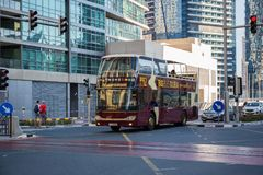 Travel bus in the area of Dubai Marina Stock Photo