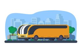 Travel bus in city. Vehicle for transportation passangers. Excursion bus. Urban background Royalty Free Stock Image