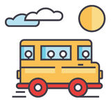 Travel bus concept. Line vector icon. Editable stroke. Flat linear illustration isolated on white background Royalty Free Stock Image