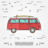 Travel bus family camper with surf board thin line. Traveler truck tourist bus outline icon. RV travel bus grey and white  Royalty Free Stock Photos
