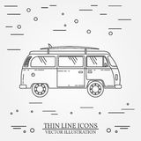 Travel bus family camper with surf board thin line.  Royalty Free Stock Photos