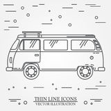 Travel bus family camper thin line. Traveler truck tourist bus outline icon. RV travel bus grey and white vector pictogram isolate Royalty Free Stock Image