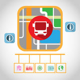 Travel by Bus GPS Navigation Map. Travel GPS Navigation Map. Bus Map Pointer, Transportation Navigation Signal, Streets, Lake, Parks. Digital background vector Stock Photos