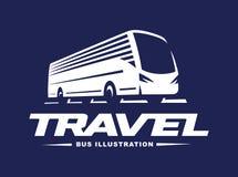 Travel bus illustration on dark background Stock Photography