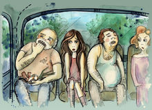 Travel by bus. Illustration of people sitting inside old bus Royalty Free Stock Image
