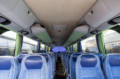 Travel bus interior. Transport, tourism, road trip and equipment concept - travel bus interior Stock Photography