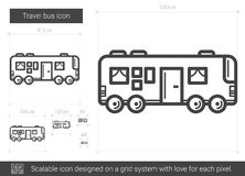 Travel bus line icon. Travel bus vector line icon isolated on white background. Travel bus line icon for infographic, website or app. Scalable icon designed on Royalty Free Stock Photos
