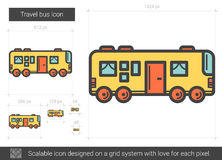 Travel bus line icon. Travel bus vector line icon isolated on white background. Travel bus line icon for infographic, website or app. Scalable icon designed on Royalty Free Stock Images