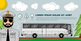 Travel bus. Transportation banners or posters. Ideal for web site or social media network cover profile image. stock illustration