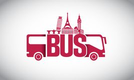 Travel with Bus Logo. Travel with Bus on the world logo design Royalty Free Stock Image