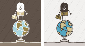 Travel & business colored cartoon Royalty Free Stock Photography