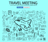 Travel for Business concept  with Doodle design style :finding routes Stock Photography
