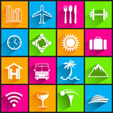 Travel business icons on color background Stock Photos