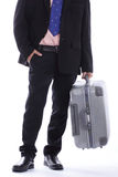 Travel businessman holding luggage Stock Photos