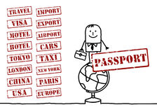 Travel businessman and words Stock Image