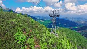 Travel by cable car from Kasprowy Wierch in Tatra mountain, Poland. Europe stock video