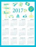 Travel calendar 2017, weeks start on Sunday Royalty Free Stock Photo