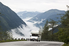 Travel by camper in highmountains, Austria Royalty Free Stock Image