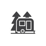 Travel camper trailer in forest icon vector. Filled flat sign, solid pictogram isolated on white. Camping symbol, logo illustration. Pixel perfect graphics vector illustration