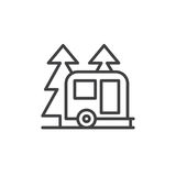 Travel camper trailer in forest line icon, outline vector sign. Linear style pictogram isolated on white. Camping symbol, logo illustration. Editable stroke stock illustration