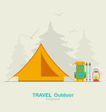Travel Camping Background with Tourist Tent, Backpack, Lantern and Trekking Pole Stock Photography