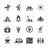 Travel and camping icon set, vector eps10 stock illustration