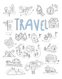 Travel, camping icons in Doodle style great set Stock Photography