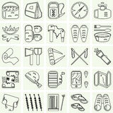 Travel and camping icons set Stock Photos