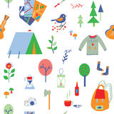 Travel and camping seamless pattern with many icons Royalty Free Stock Photography
