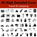 Travel and Camping Smooth Icons Stock Images
