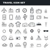 Travel and camping theme flat outline vector icon set stock photos