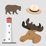 Travel canada traditional objects country tourism design national symbol vector illustration. Royalty Free Stock Photo