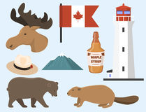 Travel canada traditional objects country tourism design national symbol vector illustration. Stock Photos