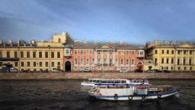 Travel on canals of St. Petersburg Film Tilt. View of the Fontanka river in St. Petersburg stock video