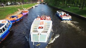 Travel on canals of St. Petersburg Film Tilt. View of the Moika river in St. Petersburg stock footage