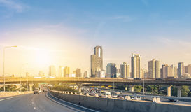 Travel in capital bangkok with building office and bridge Stock Image